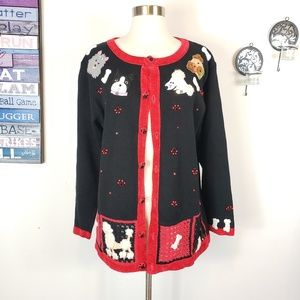 Vintage Poodle bulldog paw closed button sweater